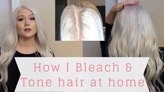 DIY: HOW I BLEACH & TONE MY HAIR AT HOME | PLATINUM BLONDE