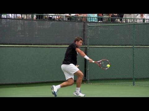 Stanislas Wawrinka Backhand In Super Slow Motion 2 - Indian Wells 2013 - BNP Paribas Open