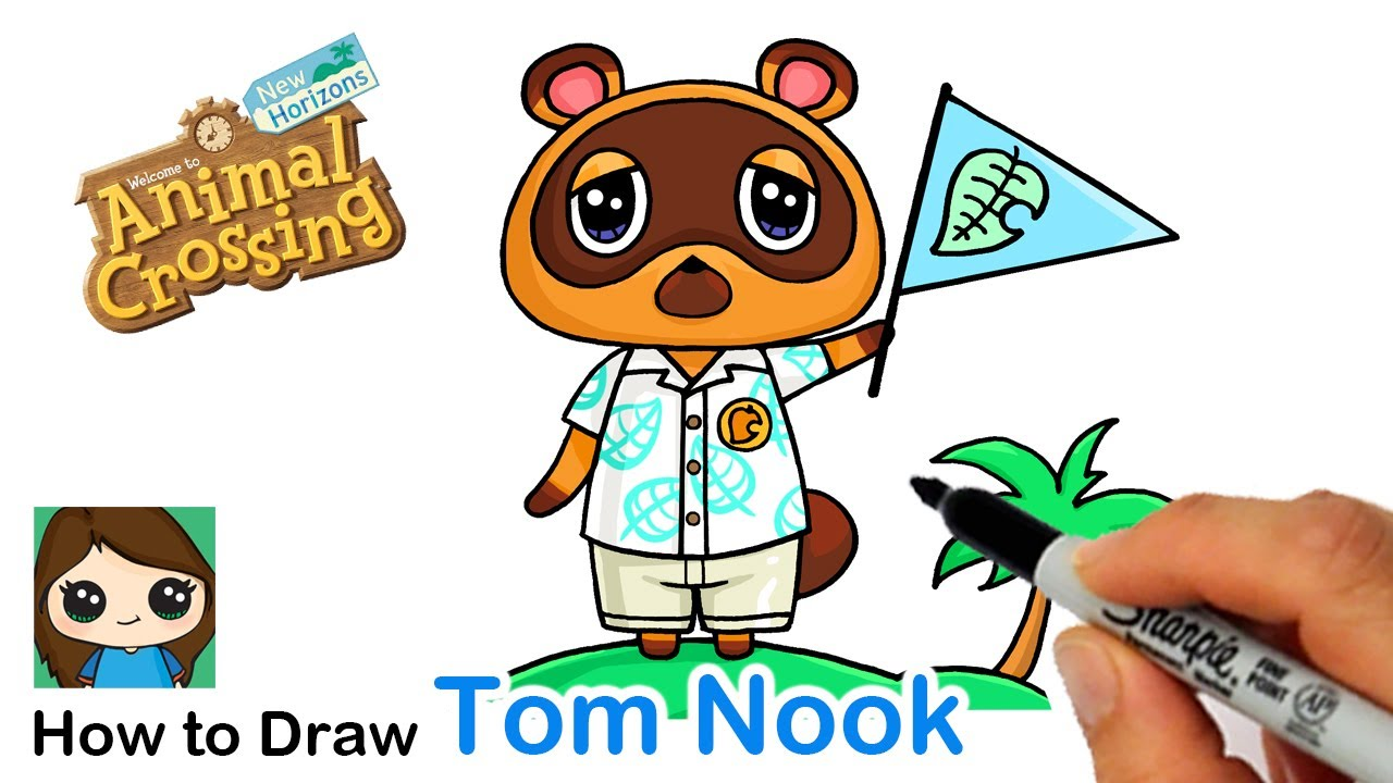 How To Draw Tom Nook Raccoon Animal Crossing Youtube