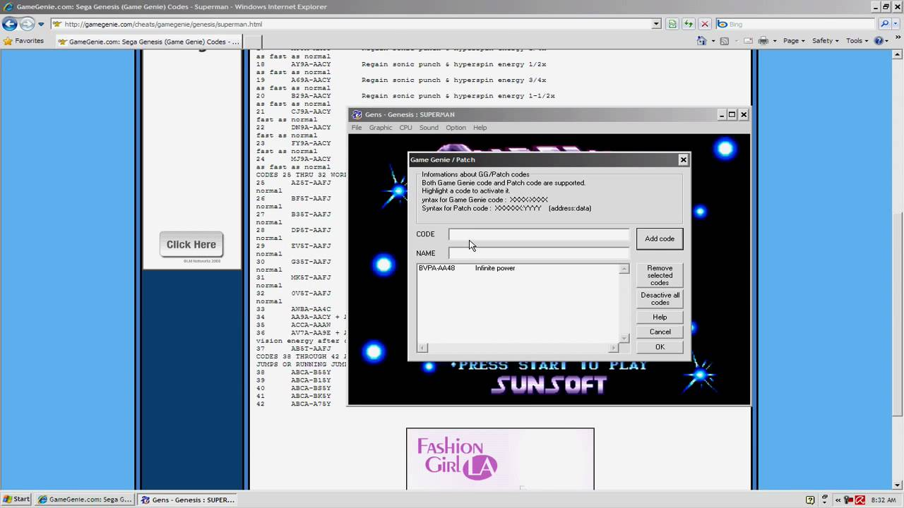 <b>Sega Genesis</b> Emulator Gens Preview Part 2 : <b>Game genie</b> function ...