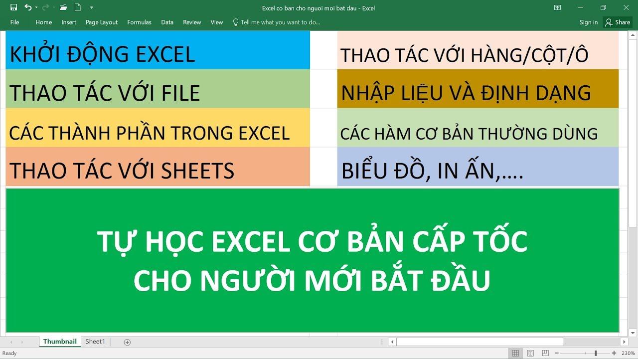Tự Học Excel Cơ Bản Cấp Tốc Cho Người Mới Bắt Đầu ! Chi tiết và dễ hiểu nhất
