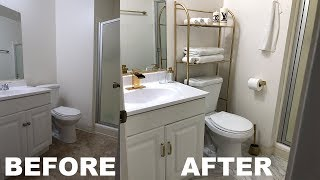 Remodeling a bathroom for Under $100| DIY GOLD MARBLE FLOOR