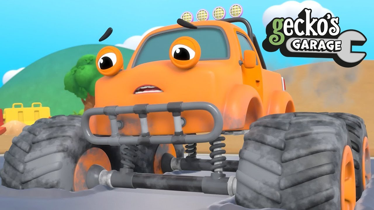 Max The Monster Truck Is STUCK|Gecko's Garage|Funny Cartoon For Kids|Learning Videos For Toddlers