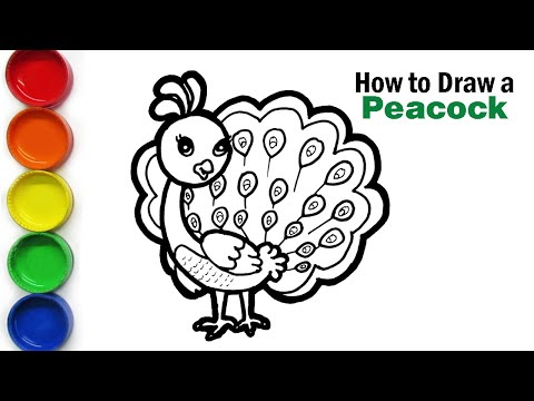 How to Draw a Peacock, step by step, Coloring pages for kids | ColourCups TV ☆