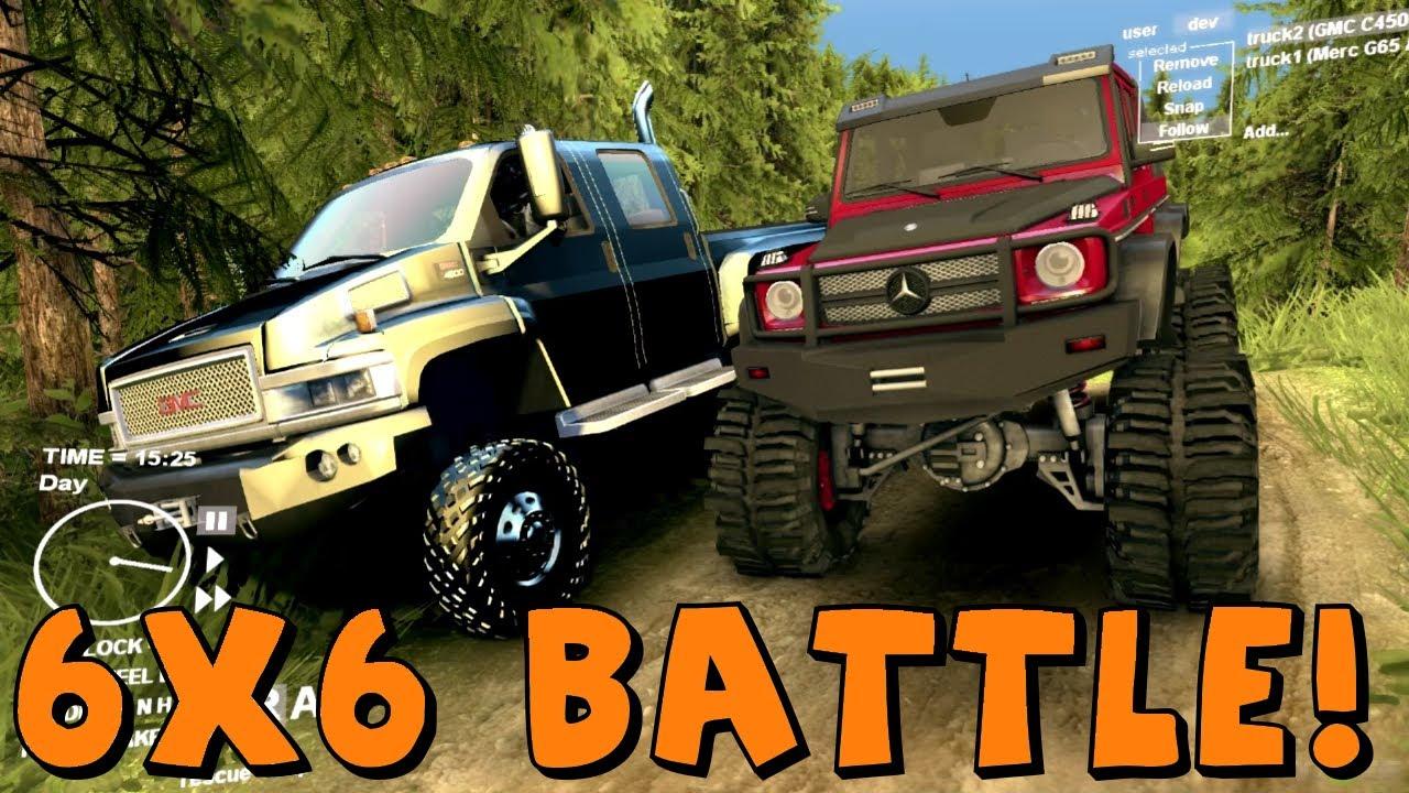 Gmc Vs Chevy >> Spin Tires Mercedes AMG 6x6 vs GMC Kodiak 6x6 - YouTube