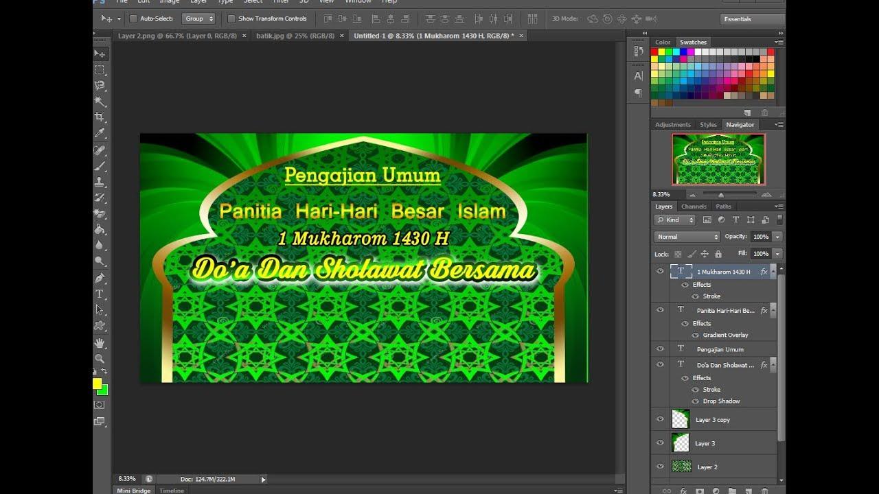 Cara Membuat Desain Banner Pengajian Isro Miroj cdr