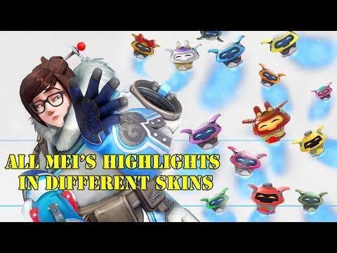 Overwatch || Mei HIghlights || Different Skins -w- Golden Gun On White Background