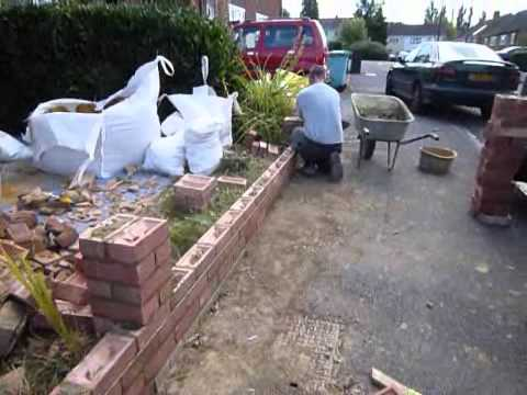 Rebuilding A Front Garden Wall UK Aug 2012   YouTube
