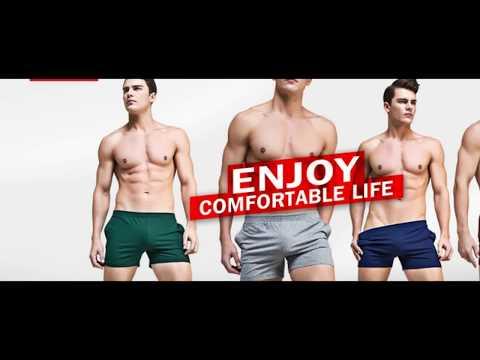 Boxer Briefs Cotton Men's Underwear Sleep Shorts Bodybuilding Gym Running Active Shorts