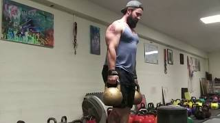 50 rep set of Double 106lb Suitcase Style Kettlebell Swings