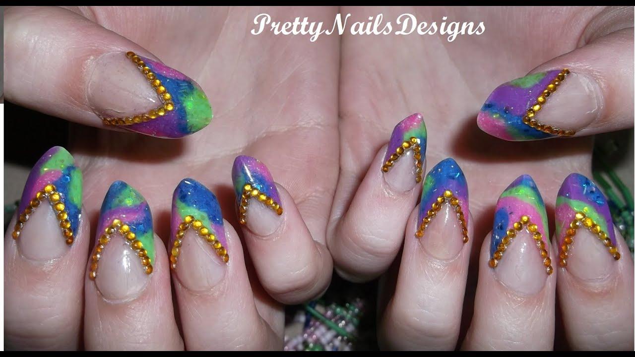 Neon Glitter Edge French Manicure Acrylic Nail Art - YouTube