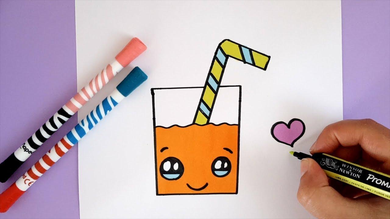 How To Draw A Cute Orange Juice Easy Kawaii Youtube
