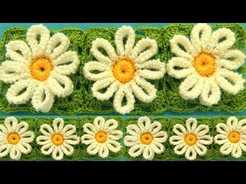 Como tejer a Crochet flores margaritas en punto tunecino blusas chalecos mantas how to crochet