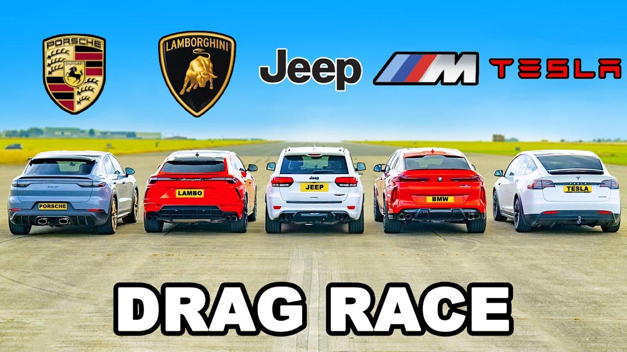 Download Lambo Urus v Porsche Turbo GT v BMW X6M v Tesla Model X v Jeep Trackhawk: DRAG RACE