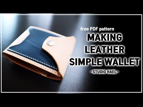 Leather Craft Leather Wallet PDF/ Making a Leather Simple Wallet/ 가죽공예 심플 반지갑 만들기/ 무료패턴