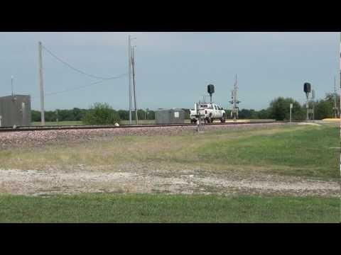 Union Pacific High-Railer crosses North Dakota Avenue, Ames, Iowa