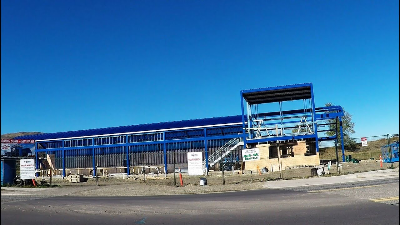 car wash construction time lapse steel frame building