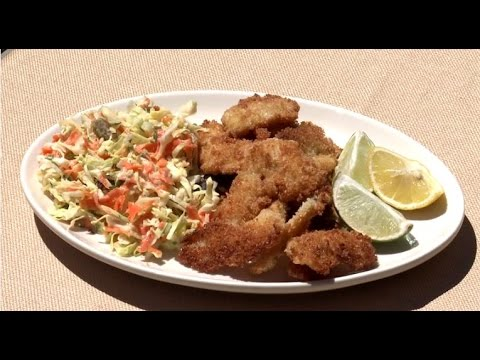 Coconut Fried Bluegill with Coleslaw