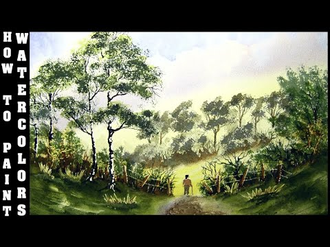 How To Paint Clouds,Trees And Bushes In Watercolour With Colin Walters….. A WALK IN THE COUNTRY