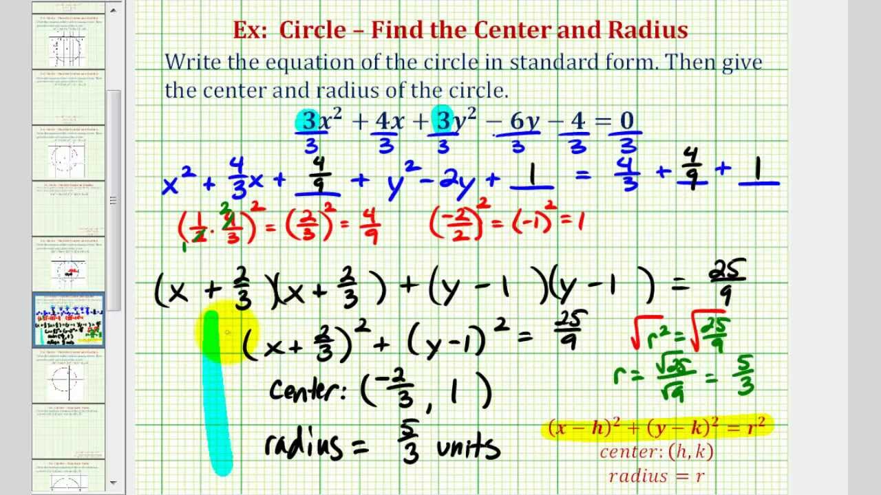 Ex 28: Write General Equation of a Circle in Standard Form (Coefficent Not 28  and Fractions)
