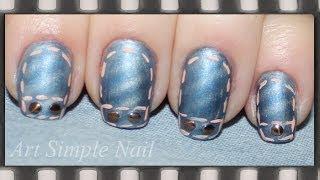 Джинсовый маникюр с магнитным лаком | Jeans Nail Art Tutorial(Видео-урок