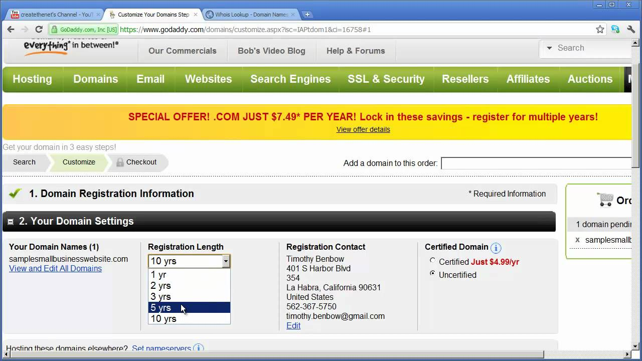 Part 1 - Registering a Domain Name and Setting Up Website Hosting ...