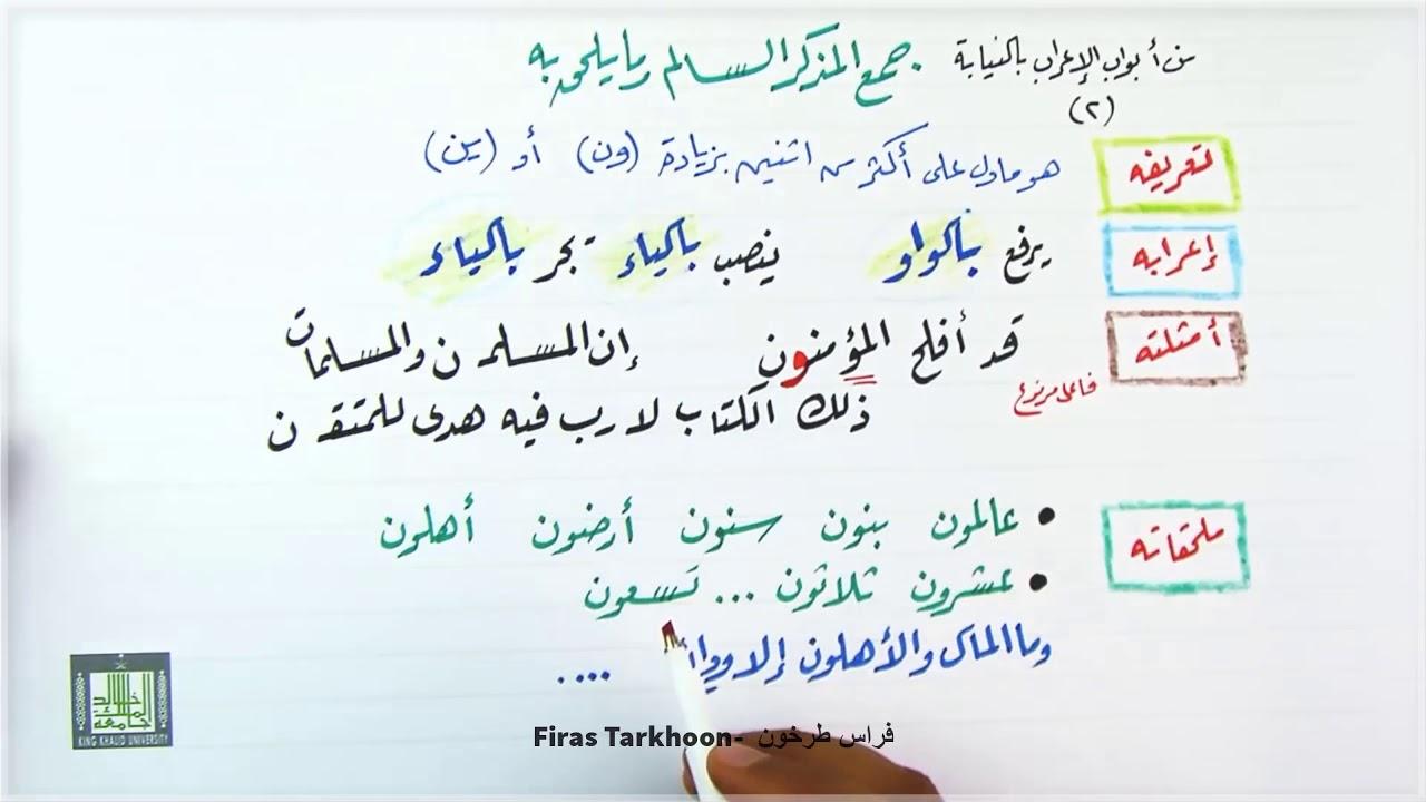 جمع المذكر السالم وما يلحق به بأسلوب مبسط 5 دقائق فقط شرح قواعد اللغة العربية Youtube