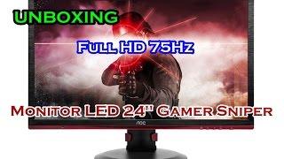 unboxing monitor led 24 aoc gamer sniper full hd 1ms 75hz
