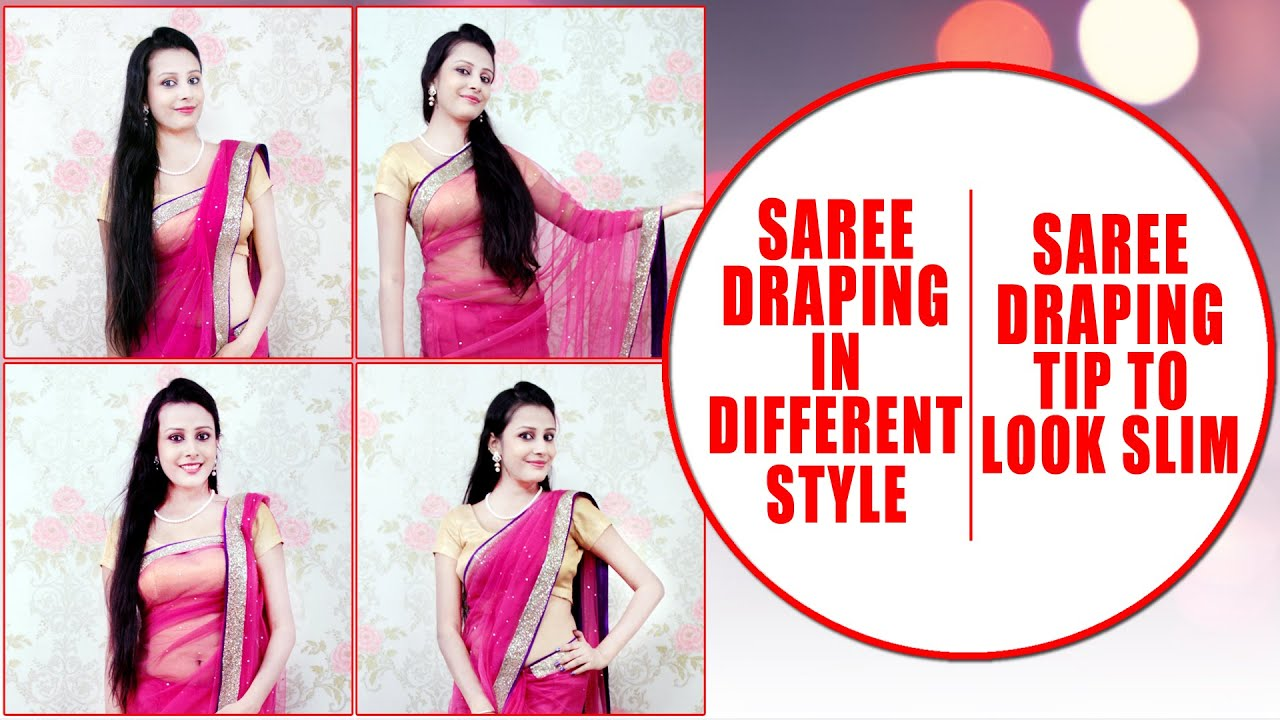 Different hairstyles to try with sarees - Saree Draping In Different Style Saree Draping Tips To Look Slim Khoobsurati Com