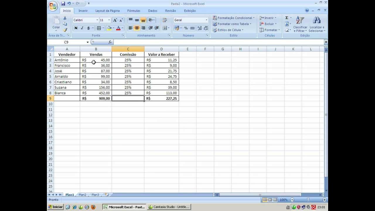 Planilha Excel  Trabalhando com Fórmula de Porcentagem