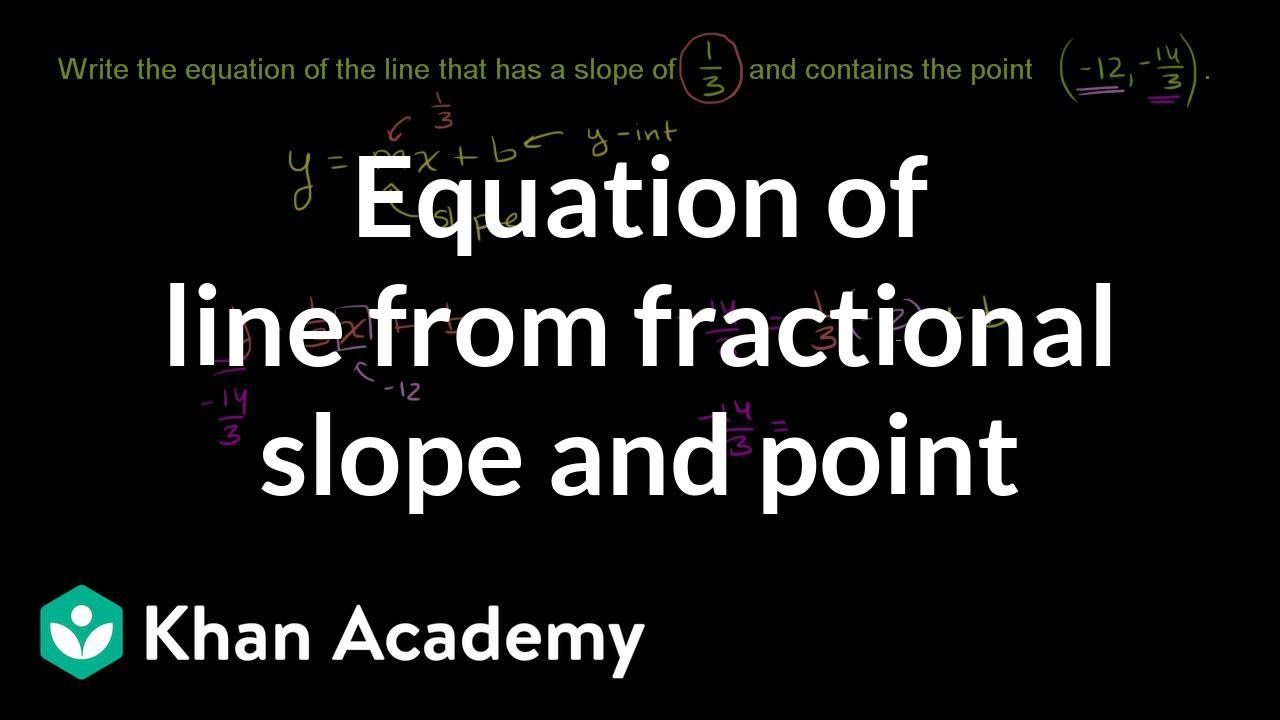 Equation of a line from fractional slope and point | Algebra Basics | Khan Academy
