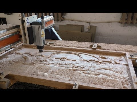 Large carved panel of the Last Supper with CNC. Панно Тайная Вечеря