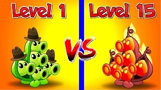 Plants vs Zombies 2 Gameplay Compare Pea Pod Level 1 vs Pea Pod Level 15 by Primal Gameplay