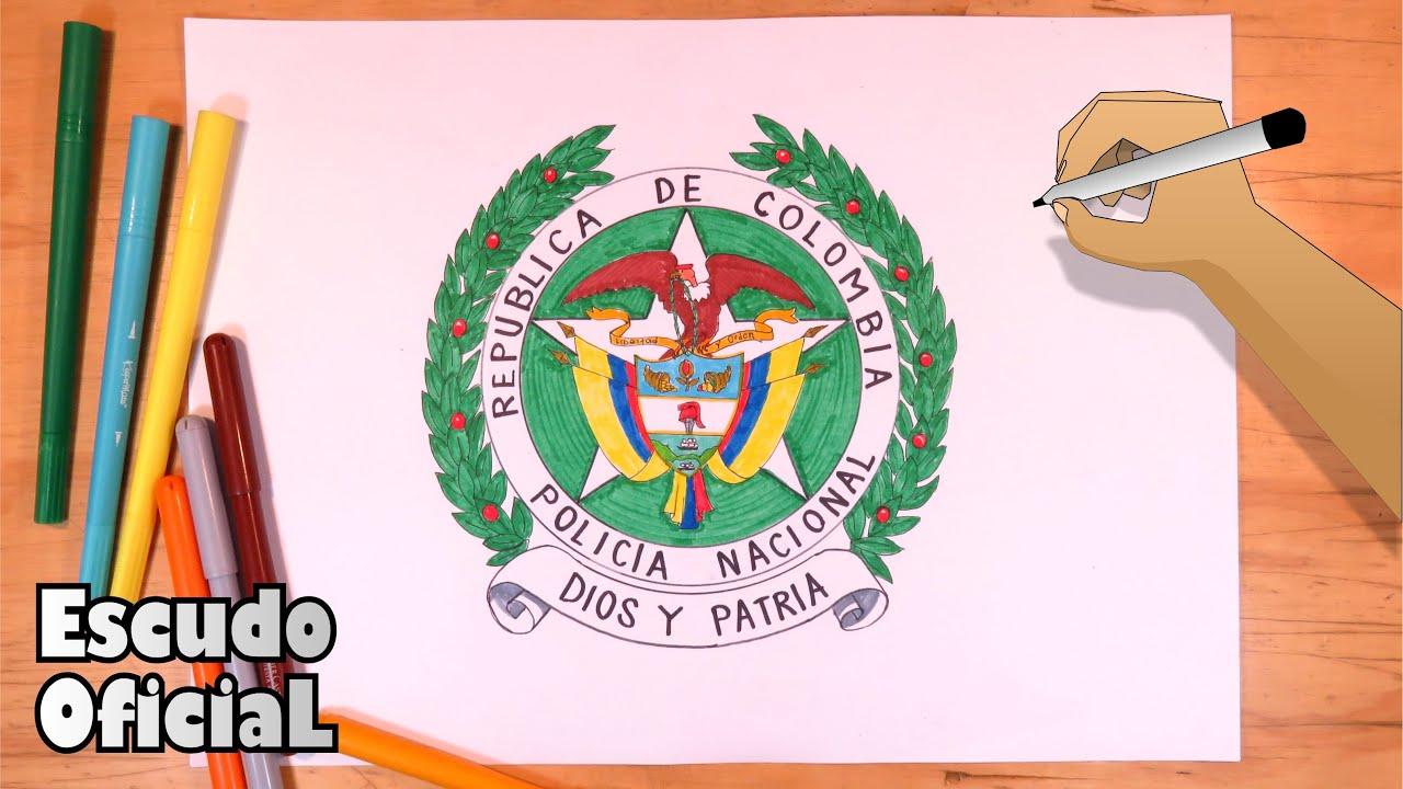 Como Dibujar El Escudo De La Policia Nacional De Colombia Youtube