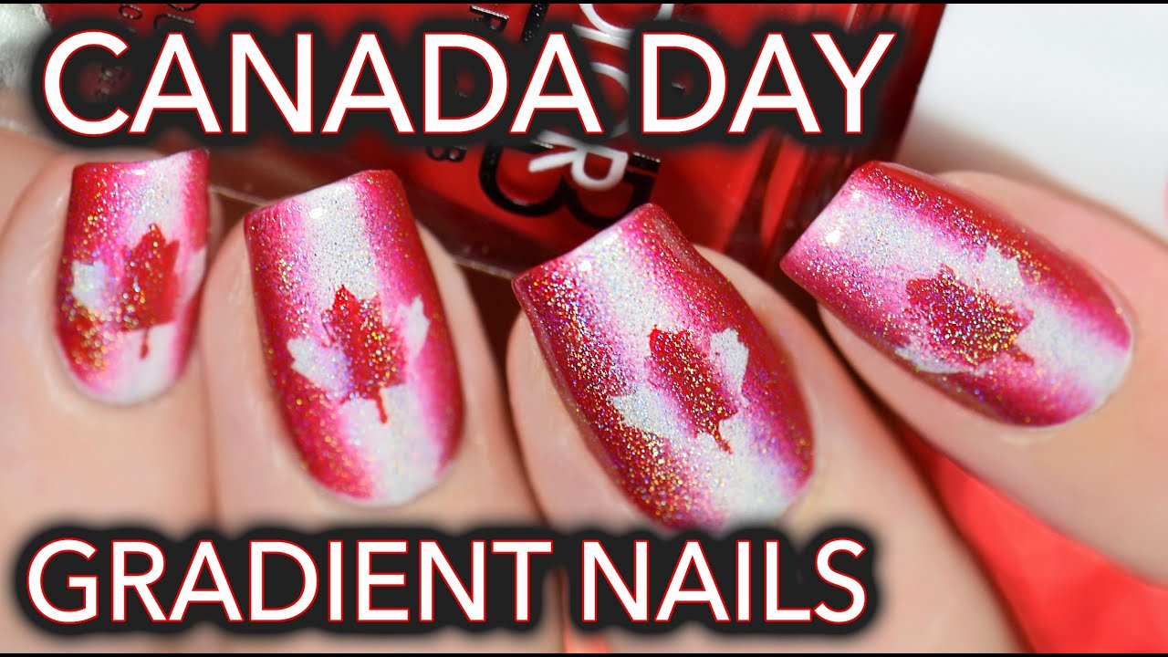 Canada day nail art - Red, white & holo! - YouTube