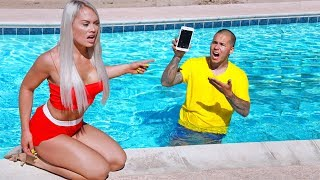 JEALOUS Wife Throws iPhone X in Swimming POOL!! CHEATER