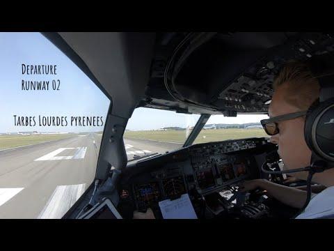 Departure Runway 02 Tarbes Lourdes Pyrenees (LDE LFBT) As Seen From The Cockpit Of A Boeing 737.