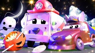 Der Streifenwagen in Autopolis -  Eine Hexe ist in der Stadt zu Halloween  - Auto Zeichentrickfilme