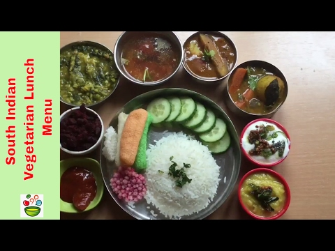 South Indian vegetarian meal or South Indian weekend lunch menu