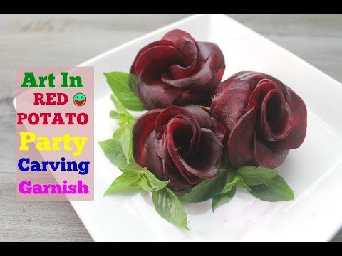 How To Make Red Beet Rose Radish and Cucumber Flowers Art In Fruit and Vegetable Carving Garnish