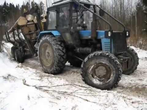 Погрузка леса манипулятором Essel EC80S-96 - YouTube