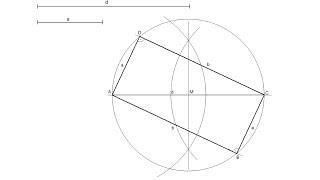 Rectángulo dadas la diagonal y un lado (inscrito en una circunferencia)