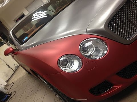 bentley car wrapping matte aluminum red and brushed aluminium zmena farby vozidla. Black Bedroom Furniture Sets. Home Design Ideas