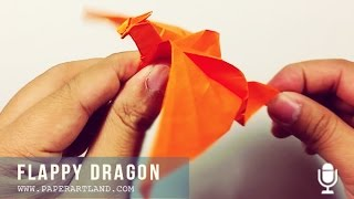 ORIGAMI TUTORIAL - How To Make A Flappy Dragon  (with Voice)