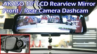 """AKASO 10"""" LCD Rearview Mirror Front & Rear Dashcam - DL9"""