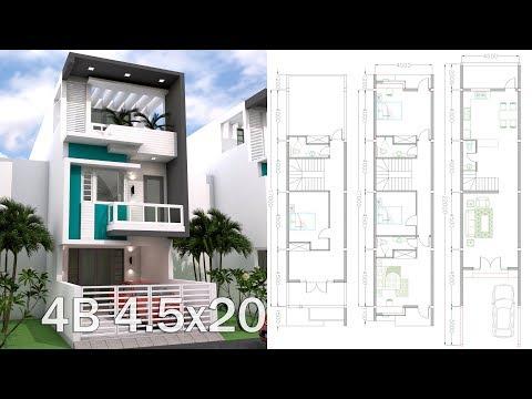 Sketchup 3 Story Narrow Home Plan 4