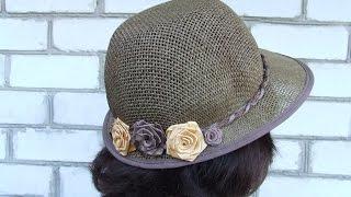 Украшение шляпки розами из атласных лент. Примерка и покупка шляпки.