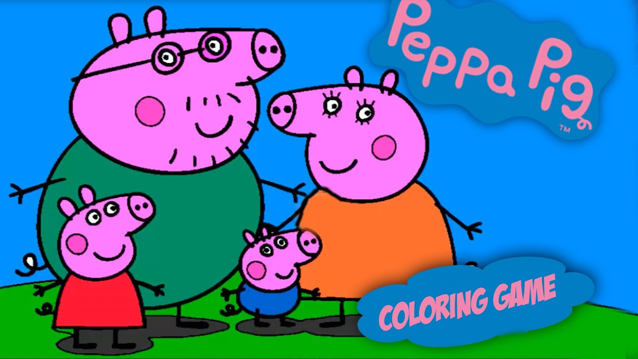 Peppa Pig en Espaol  Colorear a Peppa Pig Y Familia De Papa Pig