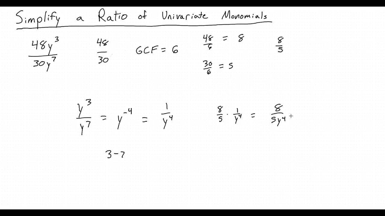 Simplying A Ratio Of Univariate Monomials