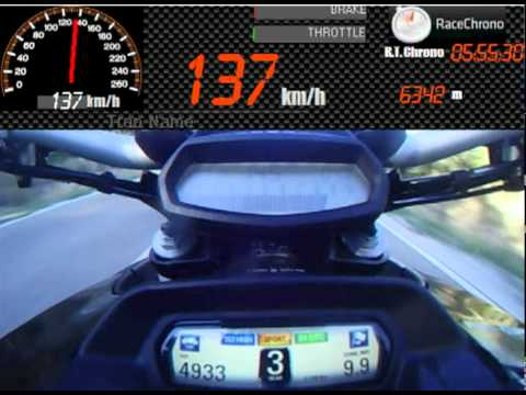 ducati diavel speed test 100to200 km/h - youtube